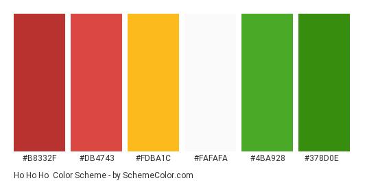 Ho Ho Ho - Color scheme palette thumbnail - #b8332f #db4743 #fdba1c #fafafa #4ba928 #378d0e