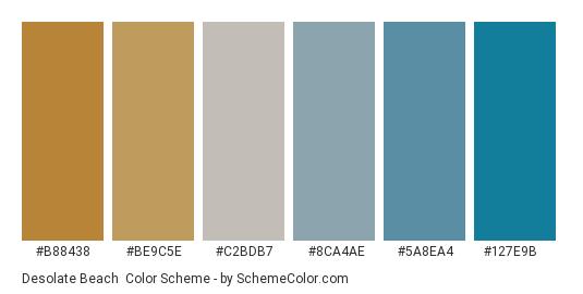 Desolate Beach - Color scheme palette thumbnail - #b88438 #be9c5e #c2bdb7 #8ca4ae #5a8ea4 #127e9b