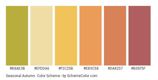 Seasonal Autumn - Color scheme palette thumbnail - #b8ae3b #efdda6 #f2c25b #eb9c58 #da8257 #b05f5f