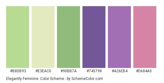Elegantly Feminine - Color scheme palette thumbnail - #b8db93 #e3eac0 #90bb7a #745798 #a26eb4 #d684a5