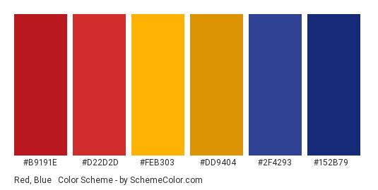 Red, Blue & Gold - Color scheme palette thumbnail - #b9191e #d22d2d #feb303 #dd9404 #2f4293 #152b79