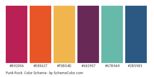 Punk Rock - Color scheme palette thumbnail - #b92056 #e85627 #f0b54d #682957 #67b9a9 #2b5983