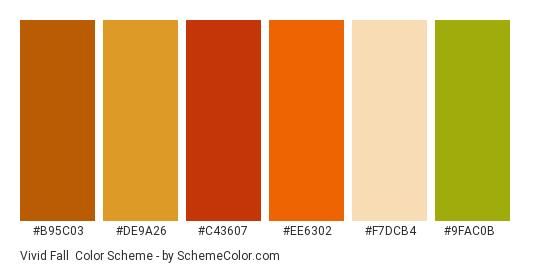 Vivid Fall - Color scheme palette thumbnail - #b95c03 #de9a26 #c43607 #ee6302 #f7dcb4 #9fac0b