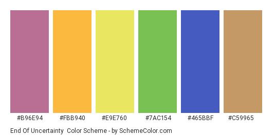 End of Uncertainty - Color scheme palette thumbnail - #b96e94 #fbb940 #e9e760 #7ac154 #465bbf #c59965