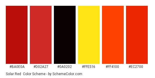 Solar Red - Color scheme palette thumbnail - #ba0e0a #d02a27 #0a0202 #ffe516 #ff4100 #ec2700