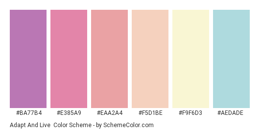 Adapt and Live - Color scheme palette thumbnail - #ba77b4 #e385a9 #eaa2a4 #f5d1be #f9f6d3 #aedade