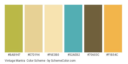 Vintage Mantra - Color scheme palette thumbnail - #bab947 #e7d194 #f6e3b0 #52aeb2 #70603c #f1b54c