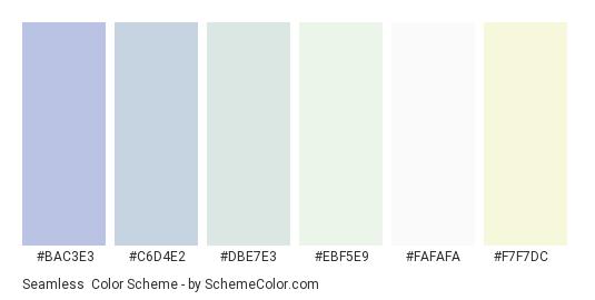 Seamless - Color scheme palette thumbnail - #bac3e3 #c6d4e2 #dbe7e3 #ebf5e9 #fafafa #f7f7dc