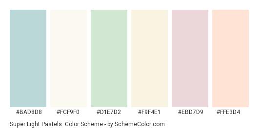 Super Light Pastels - Color scheme palette thumbnail - #bad8d8 #fcf9f0 #d1e7d2 #f9f4e1 #ebd7d9 #ffe3d4