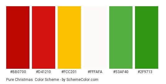 Pure Christmas - Color scheme palette thumbnail - #bb0700 #d41210 #fcc201 #fffafa #53af40 #2f9713