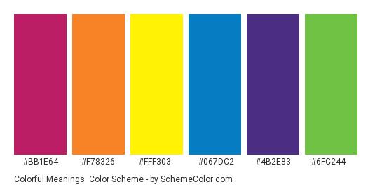Colorful Meanings - Color scheme palette thumbnail - #bb1e64 #f78326 #fff303 #067dc2 #4b2e83 #6fc244