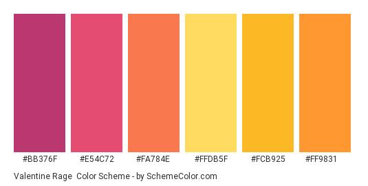 Valentine Rage - Color scheme palette thumbnail - #bb376f #e54c72 #fa784e #ffdb5f #fcb925 #ff9831
