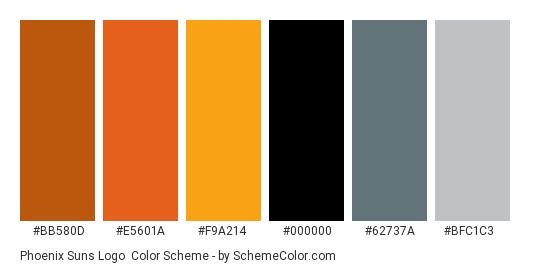 Phoenix Suns Logo - Color scheme palette thumbnail - #bb580d #e5601a #f9a214 #000000 #62737a #bfc1c3