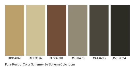Pure Rustic - Color scheme palette thumbnail - #bba069 #cfc196 #724e38 #938a75 #4a463b #2d2c24