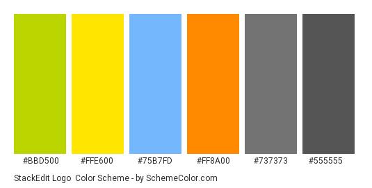 StackEdit Logo - Color scheme palette thumbnail - #bbd500 #ffe600 #75b7fd #ff8a00 #737373 #555555