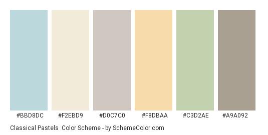 Classical Pastels - Color scheme palette thumbnail - #bbd8dc #f2ebd9 #d0c7c0 #f8dbaa #c3d2ae #a9a092
