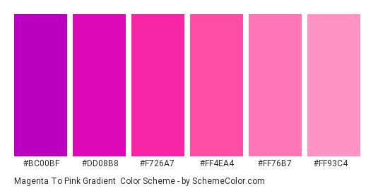 Magenta to Pink Gradient - Color scheme palette thumbnail - #bc00bf #dd08b8 #f726a7 #ff4ea4 #ff76b7 #ff93c4