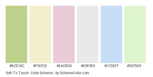 Soft to Touch - Color scheme palette thumbnail - #bcd18c #f1efcd #eacbd8 #e9e9e9 #c7def7 #def5d0