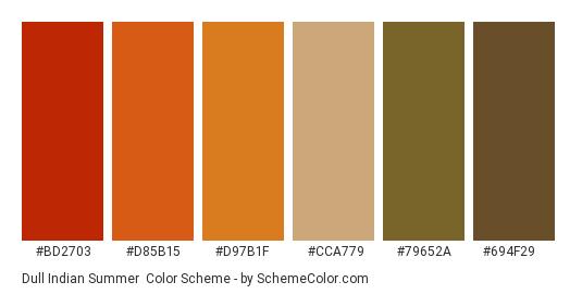 Dull Indian Summer - Color scheme palette thumbnail - #bd2703 #d85b15 #d97b1f #cca779 #79652a #694f29