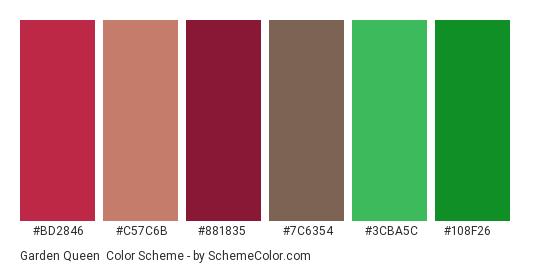 Garden Queen - Color scheme palette thumbnail - #bd2846 #c57c6b #881835 #7c6354 #3cba5c #108f26