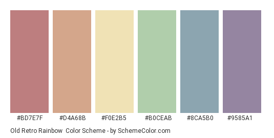 Old Retro Rainbow - Color scheme palette thumbnail - #bd7e7f #d4a68b #f0e2b5 #b0ceab #8ca5b0 #9585a1