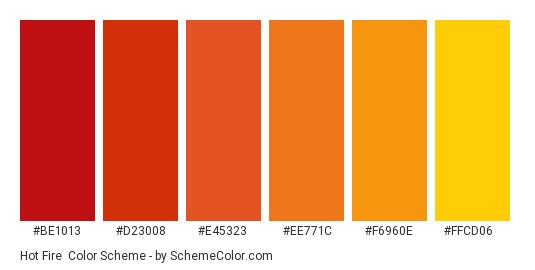 Hot Fire - Color scheme palette thumbnail - #be1013 #d23008 #e45323 #ee771c #f6960e #ffcd06