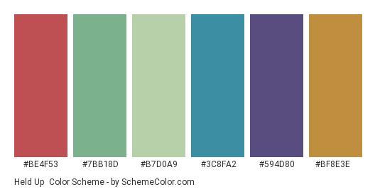 Held Up - Color scheme palette thumbnail - #be4f53 #7bb18d #b7d0a9 #3c8fa2 #594d80 #bf8e3e