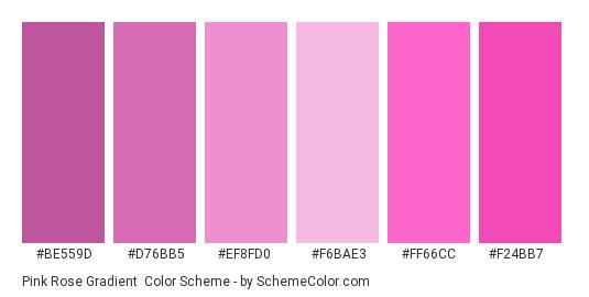 Pink Rose Gradient - Color scheme palette thumbnail - #be559d #d76bb5 #ef8fd0 #f6bae3 #ff66cc #f24bb7
