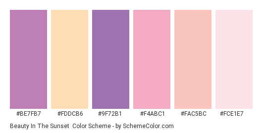 Beauty in the Sunset - Color scheme palette thumbnail - #be7fb7 #fddcb6 #9f72b1 #f4abc1 #fac5bc #fce1e7