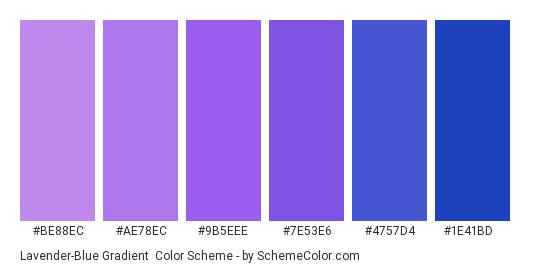 Lavender-Blue Gradient - Color scheme palette thumbnail - #be88ec #ae78ec #9b5eee #7e53e6 #4757d4 #1e41bd
