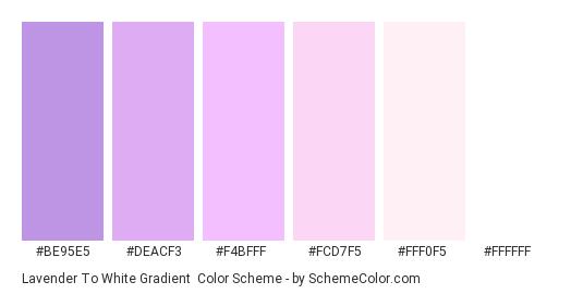 Lavender to White Gradient - Color scheme palette thumbnail - #be95e5 #deacf3 #f4bfff #fcd7f5 #fff0f5 #ffffff
