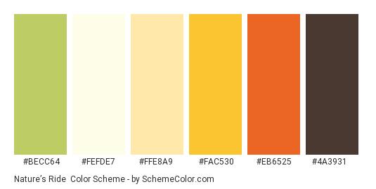 Nature's Ride - Color scheme palette thumbnail - #becc64 #fefde7 #ffe8a9 #fac530 #eb6525 #4a3931