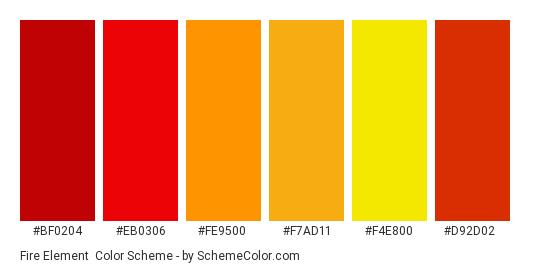 Fire Element - Color scheme palette thumbnail - #bf0204 #eb0306 #fe9500 #f7ad11 #f4e800 #d92d02