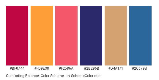 Comforting Balance - Color scheme palette thumbnail - #bf0744 #fd9e38 #f2586a #2b296b #d4a171 #2c679b