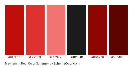 Mayhem in Red - Color scheme palette thumbnail - #bf0f08 #dd332f #f17372 #1B1B1B #8d0700 #5e0400