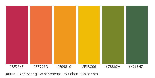 Autumn and Spring - Color scheme palette thumbnail - #bf294f #ee703d #f0981c #f1bc06 #78862a #426847