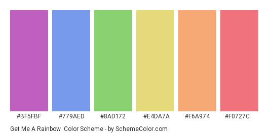 Get Me a Rainbow - Color scheme palette thumbnail - #bf5fbf #779aed #8ad172 #e4da7a #f6a974 #f0727c