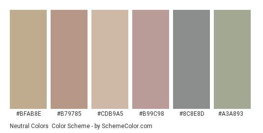 Neutral Colors - Color scheme palette thumbnail - #bfab8e #b79785 #cdb9a5 #b99c98 #8c8e8d #a3a893