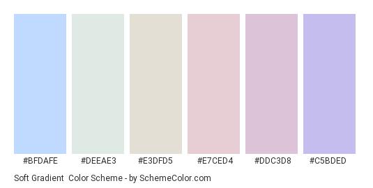 Soft Gradient - Color scheme palette thumbnail - #bfdafe #deeae3 #e3dfd5 #e7ced4 #ddc3d8 #c5bded