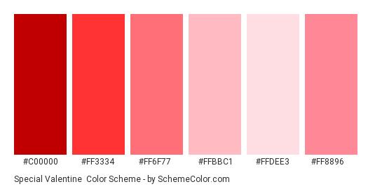 Special Valentine - Color scheme palette thumbnail - #c00000 #ff3334 #ff6f77 #ffbbc1 #ffdee3 #ff8896