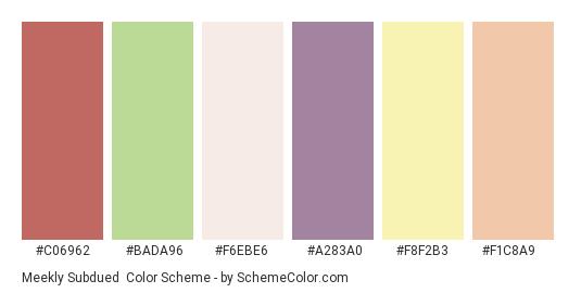Meekly Subdued - Color scheme palette thumbnail - #c06962 #bada96 #f6ebe6 #a283a0 #f8f2b3 #f1c8a9