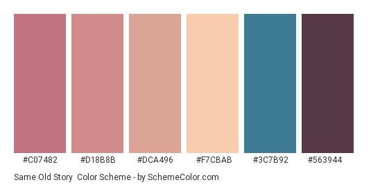 Same Old Story - Color scheme palette thumbnail - #c07482 #d18b8b #dca496 #f7cbab #3c7b92 #563944