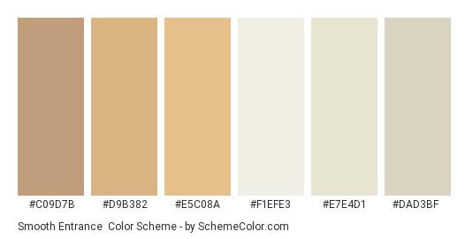 Smooth Entrance - Color scheme palette thumbnail - #c09d7b #d9b382 #e5c08a #f1efe3 #e7e4d1 #dad3bf