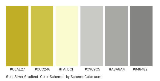 Gold-Silver Gradient - Color scheme palette thumbnail - #c0ae27 #ccc246 #fafbcf #c9c9c5 #a8a8a4 #848482