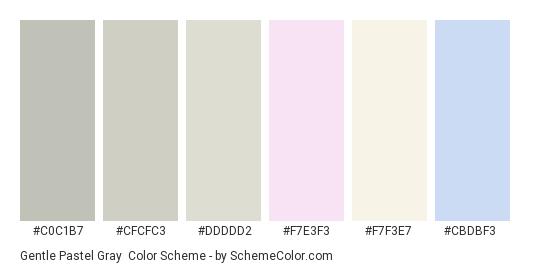 Gentle Pastel Gray - Color scheme palette thumbnail - #c0c1b7 #cfcfc3 #ddddd2 #f7e3f3 #f7f3e7 #cbdbf3