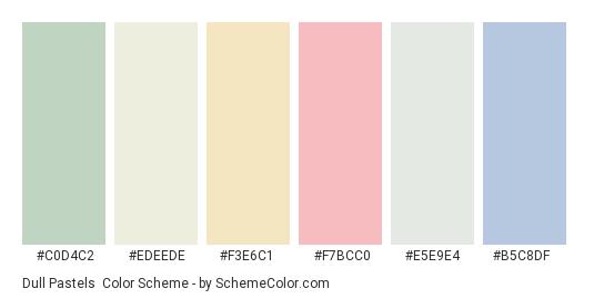 Dull Pastels - Color scheme palette thumbnail - #c0d4c2 #edeede #f3e6c1 #f7bcc0 #e5e9e4 #b5c8df