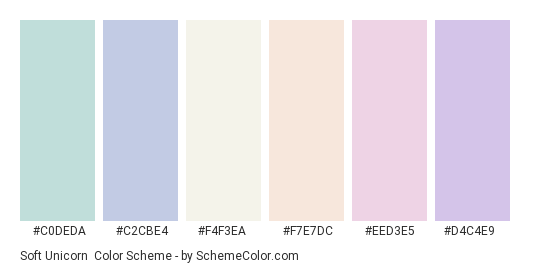 Soft Unicorn - Color scheme palette thumbnail - #c0deda #c2cbe4 #f4f3ea #f7e7dc #EED3E5 #d4c4e9