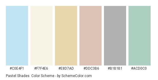 Pastel Shades - Color scheme palette thumbnail - #c0e4f1 #f7f4e6 #e8d7ad #ddc3b6 #b1b1b1 #acd0c0