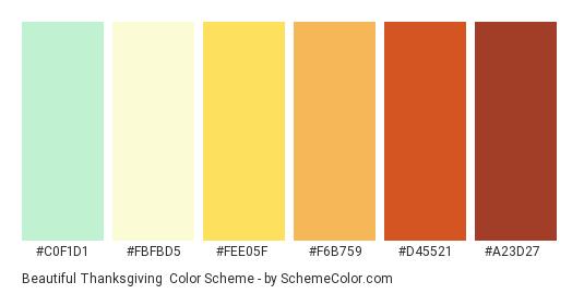 Beautiful Thanksgiving - Color scheme palette thumbnail - #c0f1d1 #fbfbd5 #fee05f #f6b759 #d45521 #a23d27