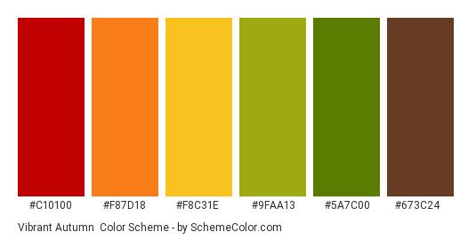 Vibrant Autumn - Color scheme palette thumbnail - #c10100 #f87d18 #f8c31e #9faa13 #5a7c00 #673c24